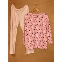Dámské pyžamo biobavlna růžové květinové