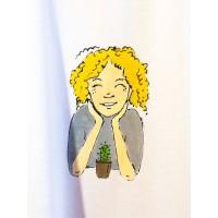 Dámské tričko biobavlna  obrázek  dlouhý rukáv  M širší -  kaktus