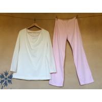 Dámské pyžamo biobavlna přírodní a růžová - doprodej