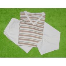 Pánské pyžamo biobavlna dlouhé širší proužek  a přírodní rukávy vel. L