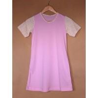 Noční košile  biobavlna  růžová s hvězdičkami , krátký rukáv