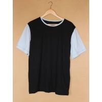 Pánské  tričko biobavlna krátký  rukáv  černé s modrou