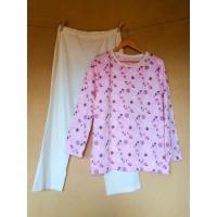 Dámské pyžamo biobavlna růžové květinové s přírodním lemem vel. M