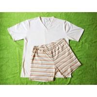 Pánské pyžamo z biobavlny krátké přírodní proužek