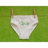 Dívčí spodní kalhotky přírodní s pejskem