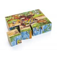 Dřevěné skládací kostky -medvídek a jeho přátelé  12ks