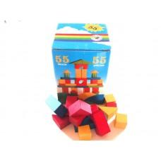 Kostky barevné dřevěné 55 ks v krabici
