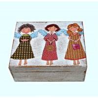 Krabička dřevěná bez přihrádek - andílci