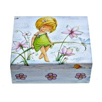 Krabička dřevěná bez přihrádek - víla
