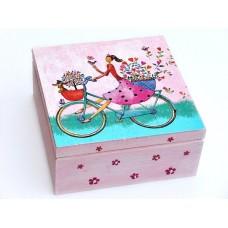 Krabička dřevěná s přihrádkam růžová