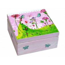 Krabička dřevěná s přihrádkami  růžovo-zelená