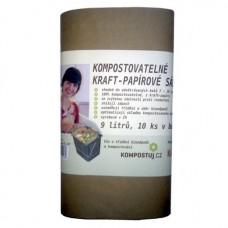 Kraft-papírové kompostovatelné sáčky na kuchyňské zbytky (9 litrů) - 10ks