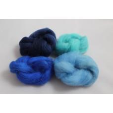 Ovčí vlna barvená  Oceán  malá  (4 barvy) - 20g