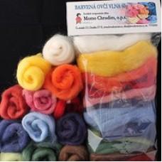 Ovčí vlna barvená velká (12 barev) - 60g