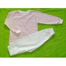 Pyžamo biobavlna  růžovo-oranžový proužek