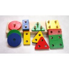 Geometrické tvary barevné - dřevěná skládačka