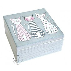 Krabička dřevěná s přihrádkami kočky